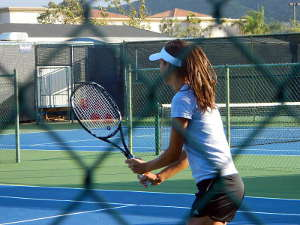 Ana Ivanovic practicing in Indian Wells